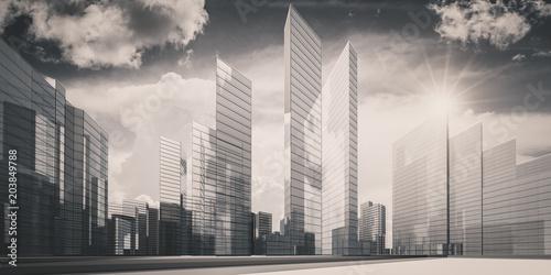 Miasto w chmur 3d renderingu