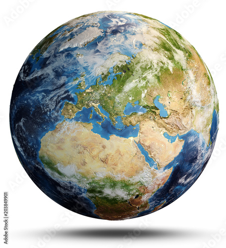 Planet Earth map. 3d rendering Canvas Print