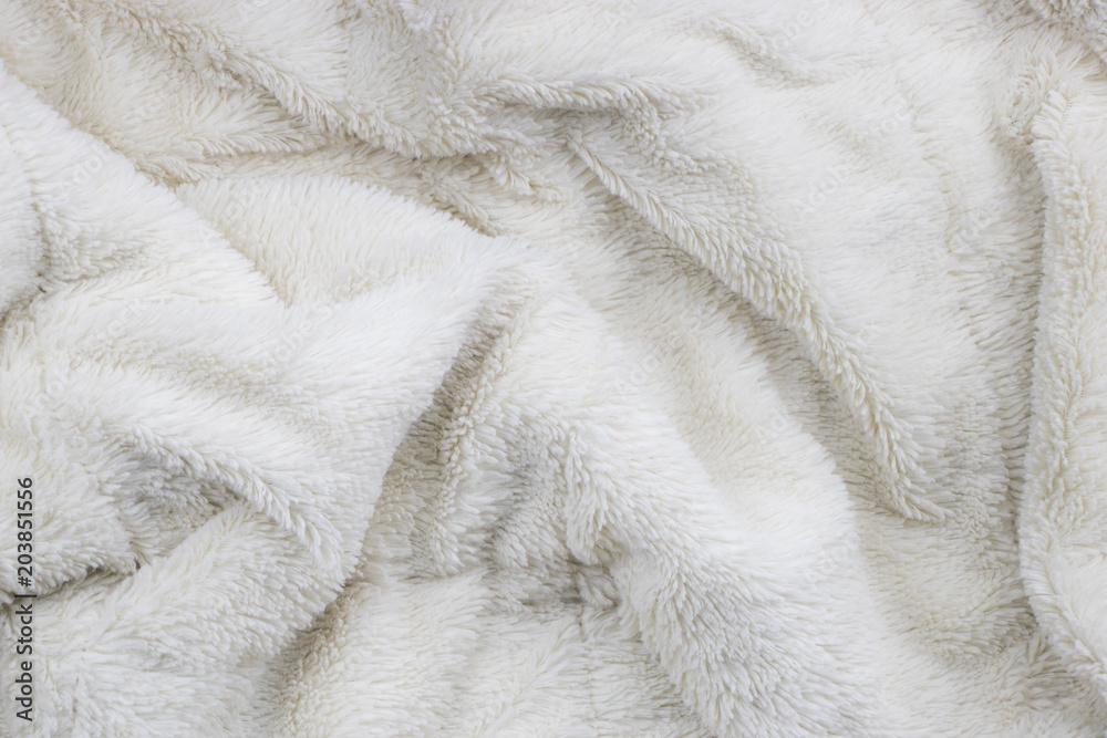 Fototapeta White faux fur blanket full frame