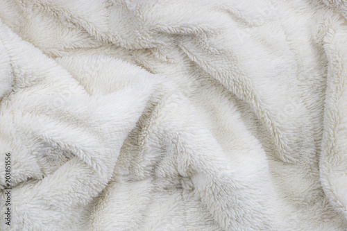 White faux fur blanket full frame Poster