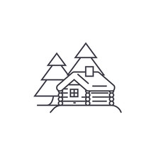 Log Cabin Vector Line Icon, Si...
