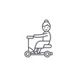 old woman on scooter vector line icon, sign, illustration on white background, editable strokes