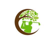 Tree Golf Icon Logo Design Ele...