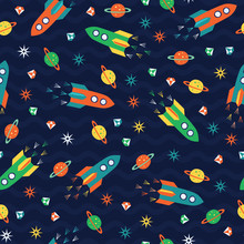 Rocket Flying With Planet, Diamond, Star. A Playful, Modern, And Flexible Pattern For Brand Who Has Cute And Fun Style. Repeated Pattern. Happy, Bright, And Magical Mood.