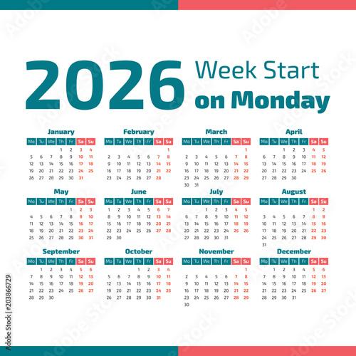 Poster  Simple 2026 year calendar