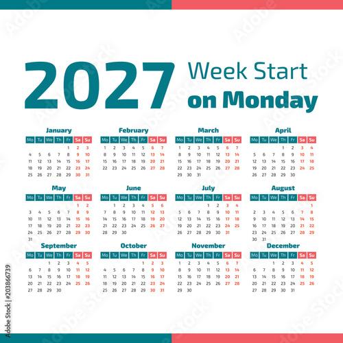 Fotografia  Simple 2027 year calendar