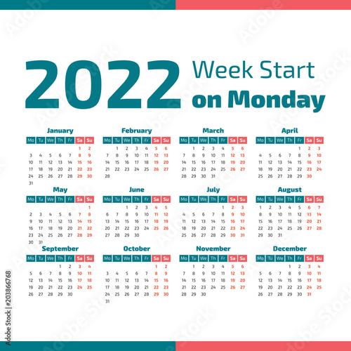 Fotografia  Simple 2022 year calendar