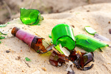 Broken Beer Glass Bottles On A...