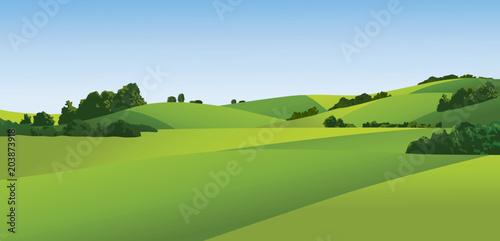 Foto op Canvas Pistache Rural landscape with green fields