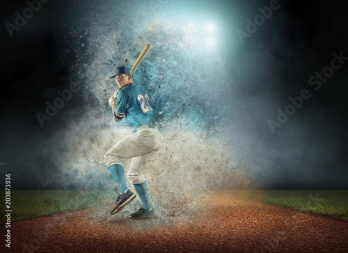 Baseball player in dynamic action around splash drops under stad