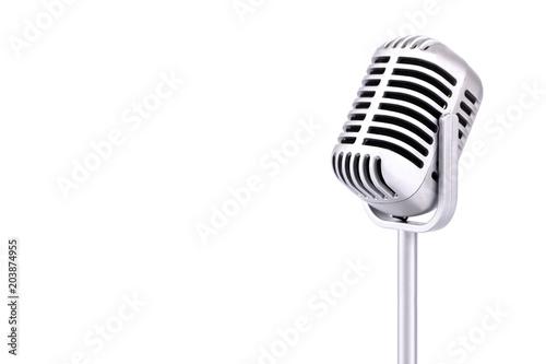 Fotografie, Obraz  Retro microphone isolated on white background