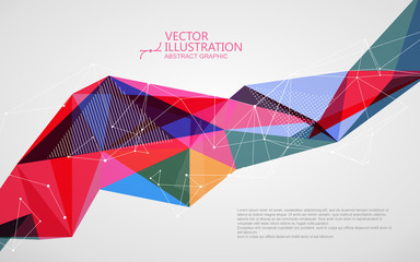 Irregular shape of dots, lines and faces, abstract design.