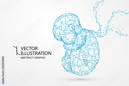 Fotografie, Obraz  Artificial nurtured bionic fetuses, points and lines connected, vector illustration