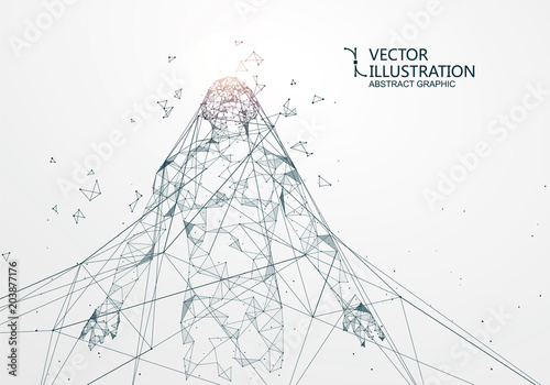 Fototapeta  A man who has rushed out of the net,Network connection turned into, vector illustration