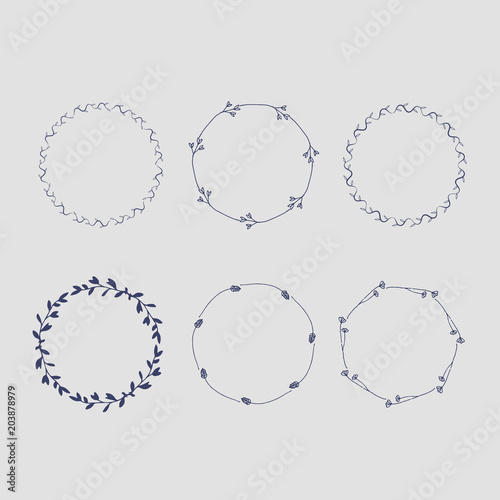 In de dag Boho Stijl set of vector frames from thin branches of hand drawing
