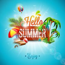 Vector Hello Summer Holiday Ty...
