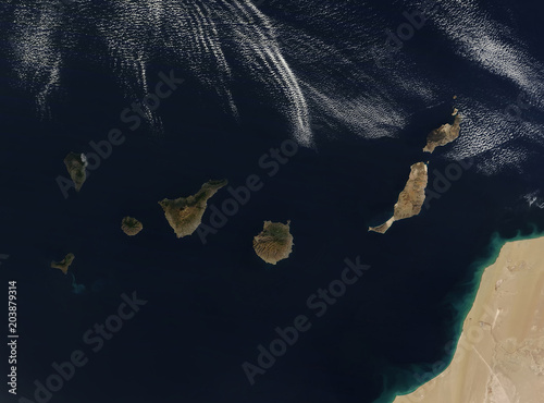 Staande foto Canarische Eilanden Satellite view of the Canary Islands. Elements of this image furnished by NASA