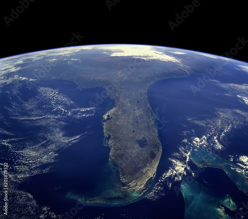 Satellite View of the Florida, United States.  Elements of this image furnished by NASA