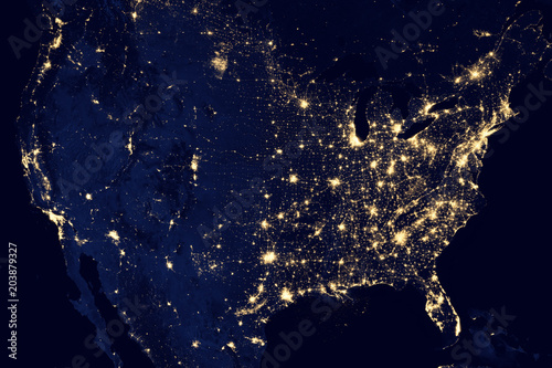 Satellite view of the night lights of the cities of United States. Elements of this image furnished by NASA