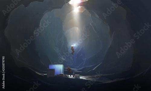 Cuadros en Lienzo Strange cave, digital painting.