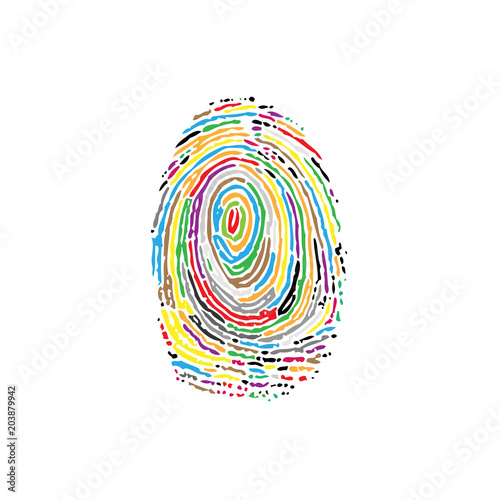 Fingerprint colorful silhouette Canvas Print