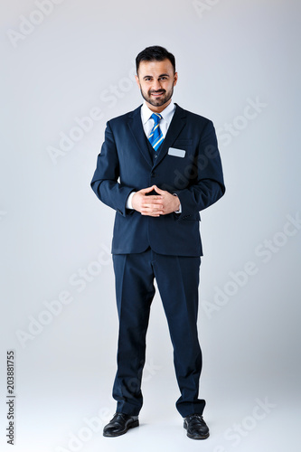 man in uniform on white background