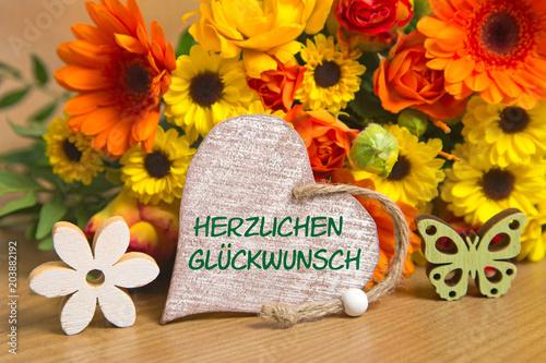 Blumen Und Herz Herzlichen Glückwunsch Kaufen Sie Dieses