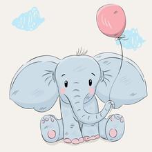 Cute Little Cartoon Elephant H...