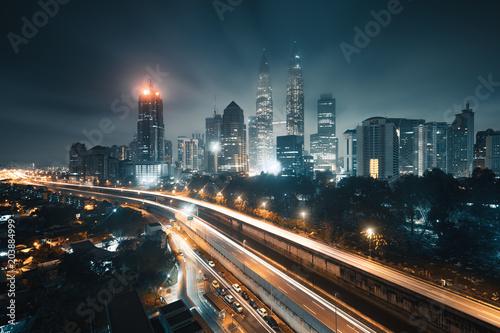 Kuala Lumpur city at night, Malaysia