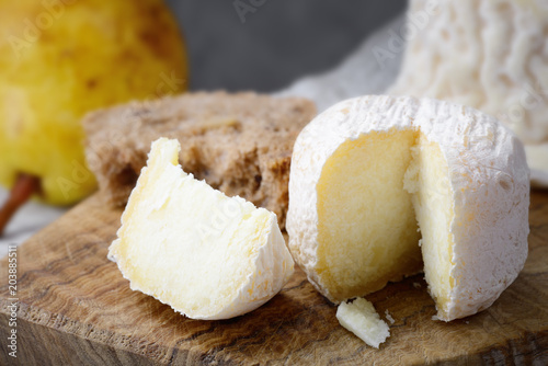 Crottin de Chavignol, French goat cheese, selective focus.