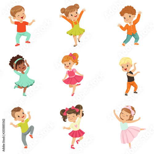 Cute little kids dancing set, modern and classical dance performed by children vector Illustrations on a white background