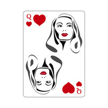 Playing Card, Icon. Queen Of Hearts. Abstract Concept. Vector Illustration On White Background.