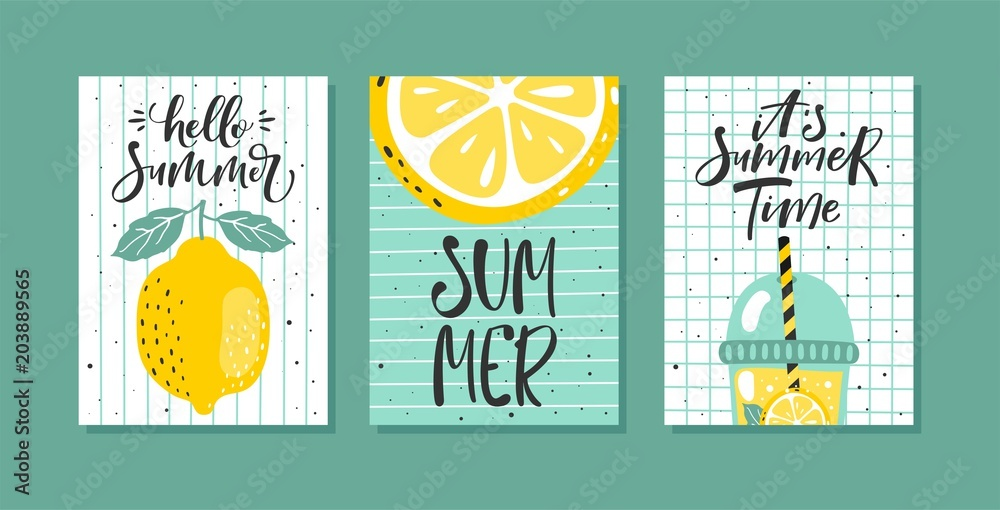 Fototapety, obrazy: Vector set of bright summer cards. Posters with lemon, lemon slice, lemonade and hand written text.