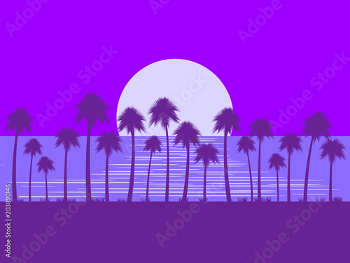 Staande foto Violet Night landscape with palm trees and moon. Glare on the water. Tropical landscape, beach vacation, romance. Vector illustration