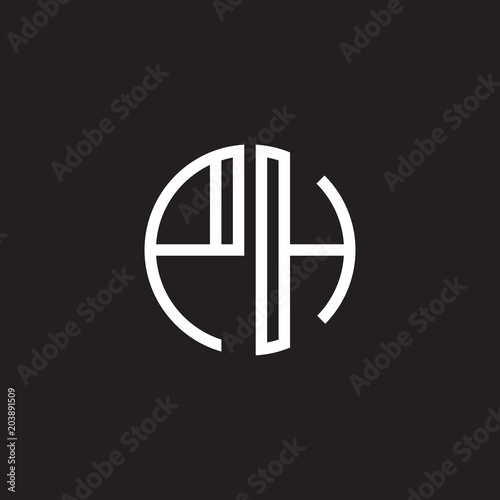 Initial Letter Ph Minimalist Line Art Monogram Circle Shape Logo White Color On Black Background Buy This Stock Vector And Explore Similar Vectors At Adobe Stock Adobe Stock