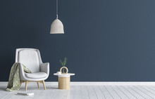 Chair With Lamp And Coffee Table In Living Room Interior, Dark Blue Wall Mock Up Background, 3D Render