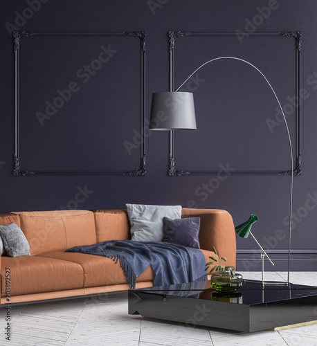 Luxury Modern Dark Blue Living Room Interior With White Parquet Floor Brown Sofa Floor Lamp And Coffee Table 3d Render Stock Illustration Adobe Stock