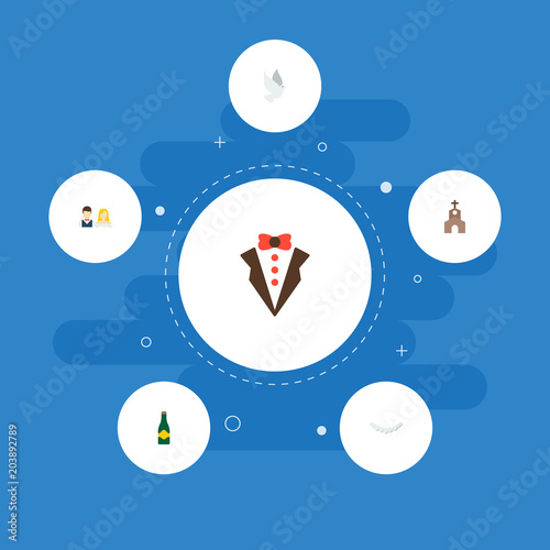 Set Of Marriage Icons Flat Style Symbols With Church Champagne