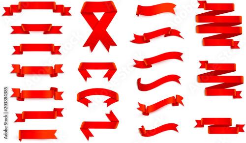 Fototapeta Set of red ribbons isolated on white. obraz