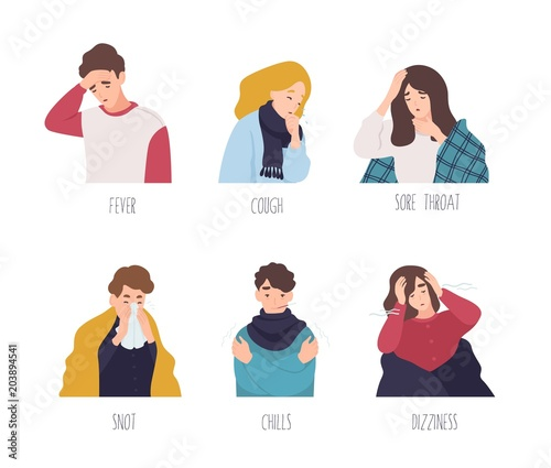 Male and female cartoon characters demonstrating symptoms of common cold - fever, cough, sore throat, snot, chills, dizziness Tableau sur Toile