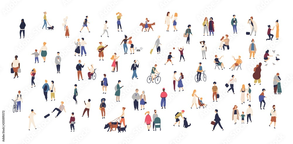 Fototapety, obrazy: Crowd of tiny people walking with children or dogs, riding bicycles, standing, talking, running. Cartoon men and women performing outdoor activities on city street. Flat colorful vector illustration.