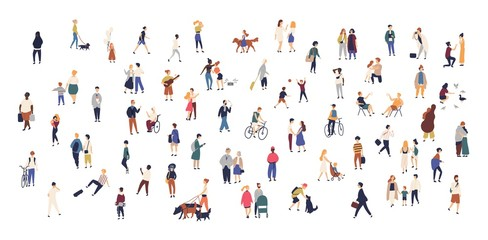Crowd of tiny people walking with children or dogs, riding bicycles, standing, talking, running. Cartoon men and women performing outdoor activities on city street. Flat colorful vector illustration.