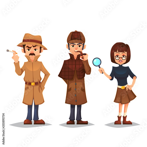 Fotografia  Set of detective character man smoking pipe noir detective smok cigarette design