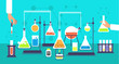 Chemical equipment in chemistry analysis laboratory. Science school research lab experiment vector background