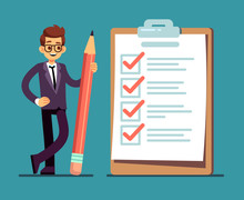 Businessman Holding Pencil At Big Complete Checklist With Tick Marks. Business Organization And Achievements Of Goals Vector Concept