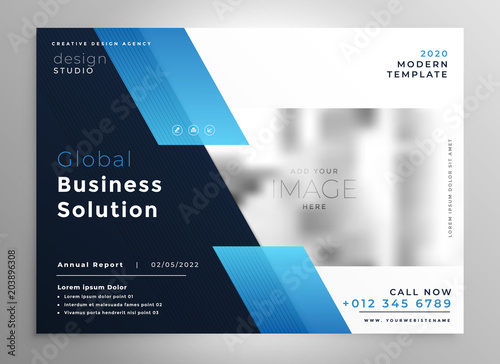 Fototapeta creative blue modern business brochure flyer presentation template obraz