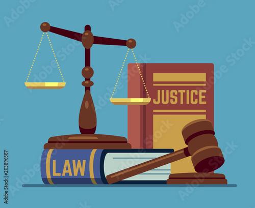 Cuadros en Lienzo Justice scales and wood judge gavel