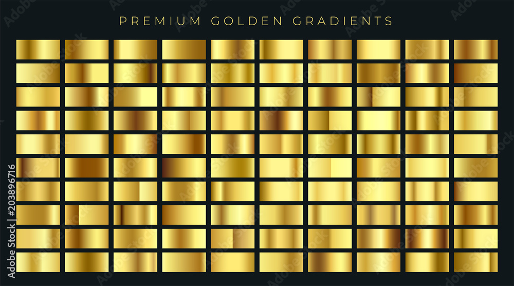 Fototapety, obrazy: huge big collection of golden gradients background swatches