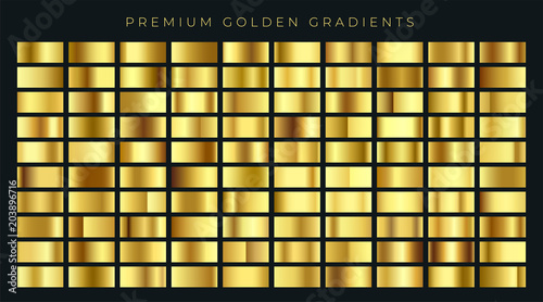 Photo huge big collection of golden gradients background swatches