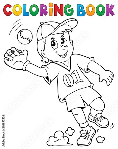 Papiers peints Enfants Coloring book baseball player theme 1
